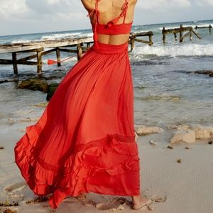 FREE PEOPLE Santa Maria Maxi Dress in Pink Cut out